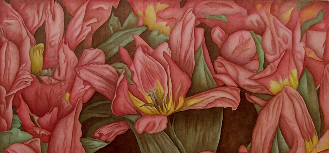 Tulip Rhapsody - 26 x 47, Click on image for price and to purchase